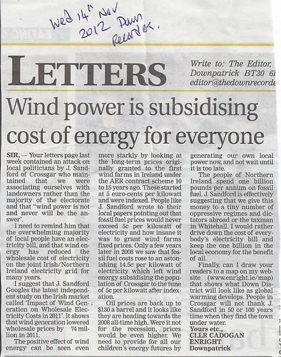 Supporting the Economics of Wind Energy Down Recorder 14th Nov 2012 by CadoganEnright