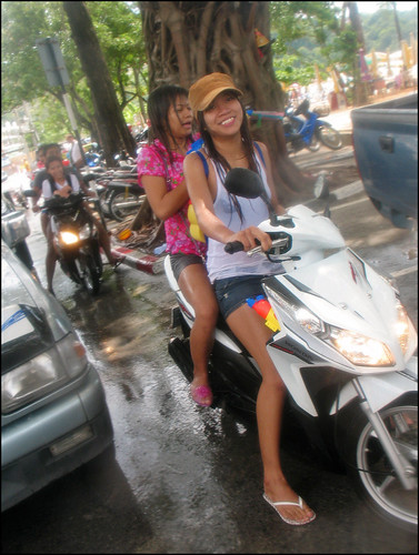 Wet girls on a moped - Songkran 2009, Patong Beach Phuket