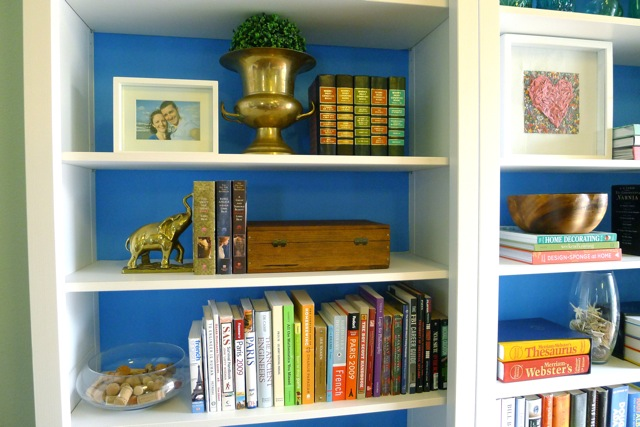 Blue-backed shelves