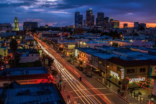 ca longexposure sunset losangeles downtown chinatown cityscape chinesenewyear dtla lightstreaks downtownlosangeles 2470mm yearofthesnake canon7d ©shabdrophoto