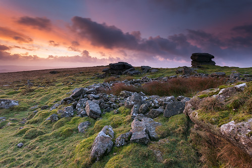 uk morning england grass clouds sunrise landscape dawn haze cloudy wideangle hills boulders devon tor dartmoor rippontor
