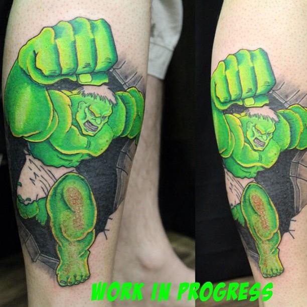 Hulk tattoo from earlier this week this is not finished just work in progress. #hulk #marvel #avengers #incrediblehulk #kustomkulture #kustomkulturetattoostudio #westonsupermare #weston-super-mare #worle #tattoo #tattoos #tattooing #tattooed #tattooshop #