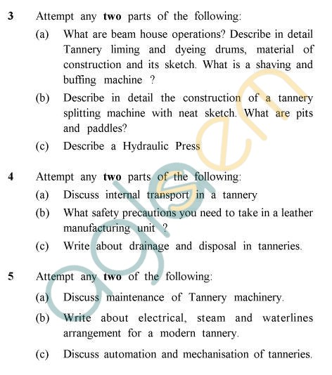 UPTU B.Tech Question Papers - LT-021 - Leather Trades Engg.