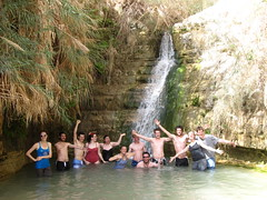 Playing in the waterfall at En Gedi
