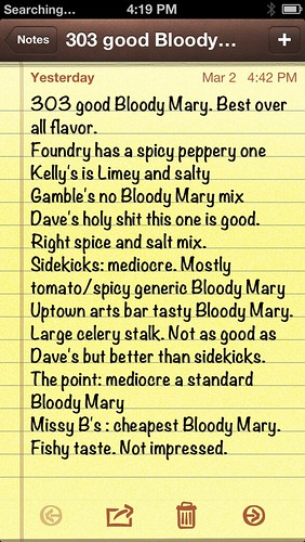 Bloody Mary notes