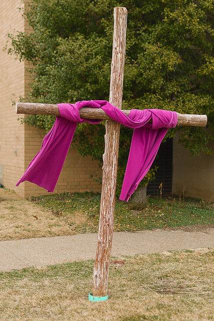Saint Joan of Arc Roman Catholic Church, in Saint Louis, Missouri, USA - cross draped in violet
