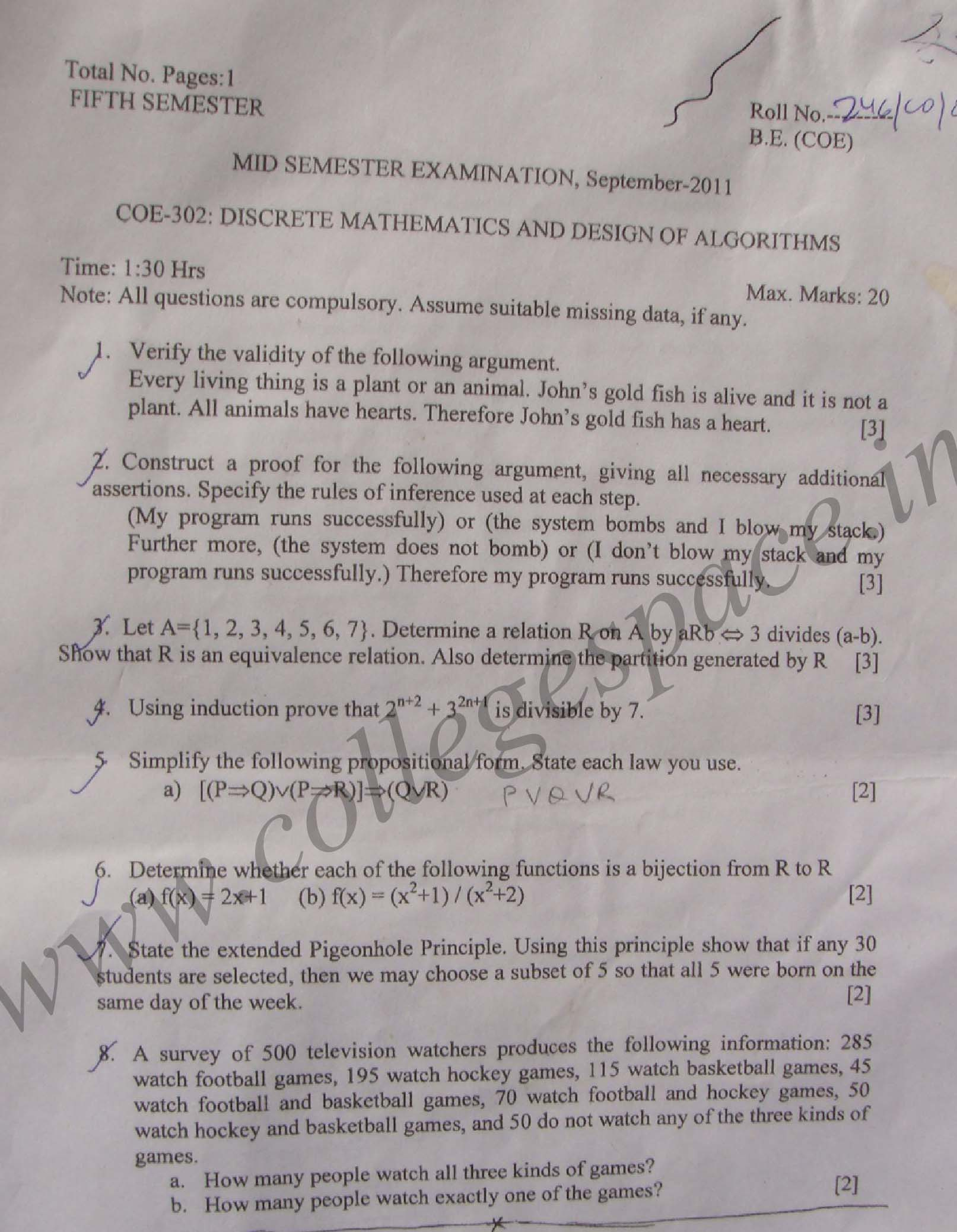 NSIT: Question Papers 2011 – 5 Semester - Mid Sem - COE-302