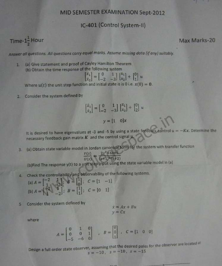 NSIT Question Papers 2012 – 7 Semester - Mid Sem - IC-401