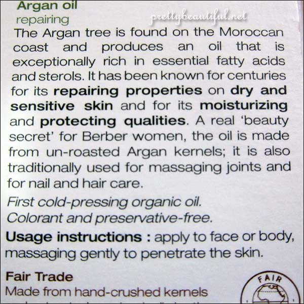 Melvita Argan Oil Ingredients