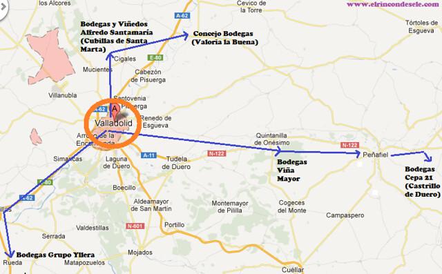 Mapa de la ruta de enorturismo que hicimos en Valladolid