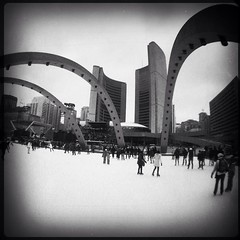 skating at Nathan Phillips Square