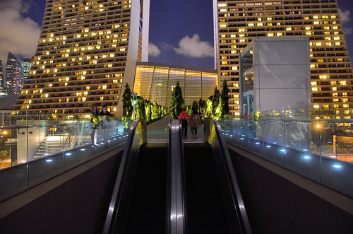 Escalator from Gardens by the Bay to Marina Bay Sands by kewl