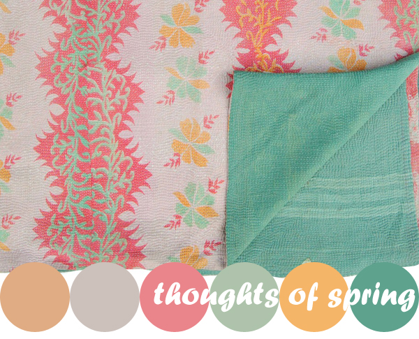 colour crush : vintage Kantha quilts at Niki Jones | Emma Lamb