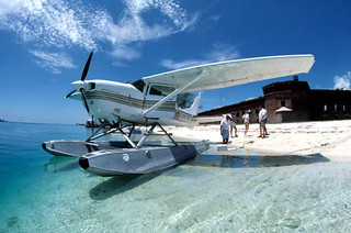Seaplane on the beach at Fort Jefferson: Garden Key, Dry Tortugas, Florida