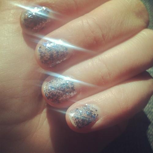 Blingy silver sparkle nail polish (Essie)