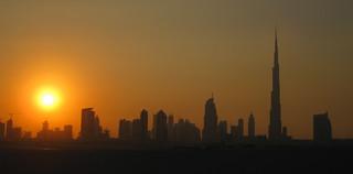 sunset over Dubai