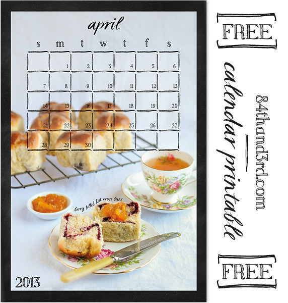 April 2013 Calendar Printable: Berry Filled Hot Cross Buns