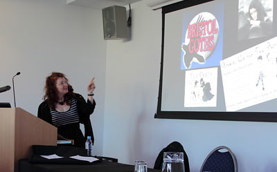 Marie Mulvey-Roberts (UWE) in full flow during her keynote address on Gothic Bristol.