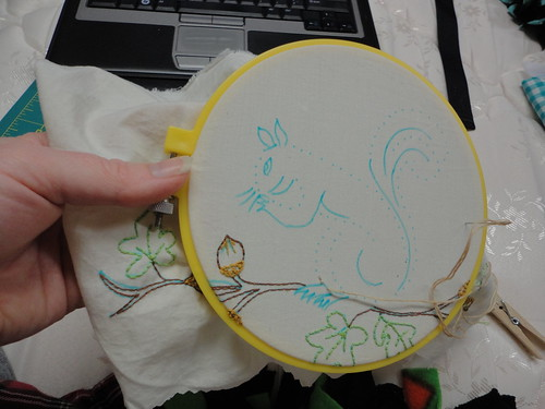 Work in Progress Squirrel - pattern from morg 71 for April Stitch Along