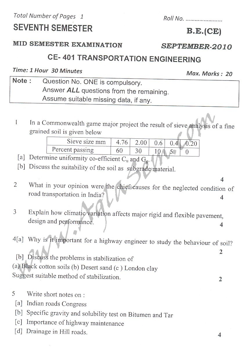 DTU Question Papers 2010 – 7 Semester - Mid Sem - CE-401
