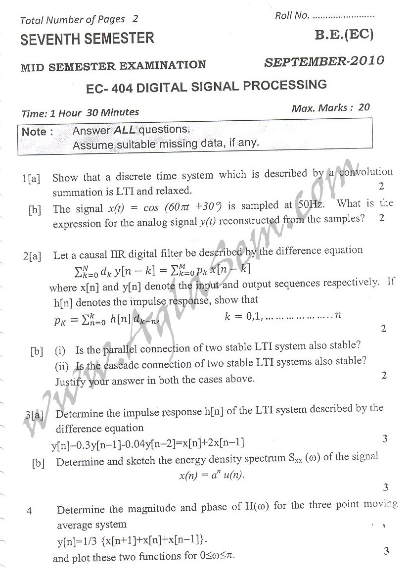 DTU Question Papers 2010 – 7 Semester - Mid Sem -  EC-404