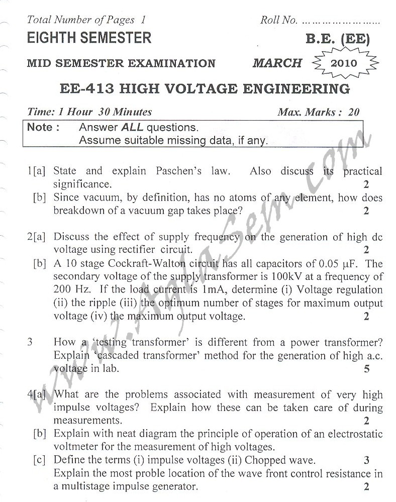 DTU Question Papers 2010 – 8 Semester - Mid Sem - EE-413