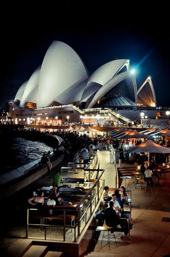 city travel light summer urban café architecture night nikon view nightshot sydney atmosphere australia icon unesco nsw newsouthwales sight australien operahouse iconic d90