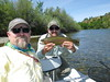Father and son enjoy perfect weather and big Rainbows on the Lower Sacramento River