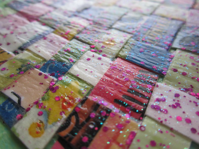 Paper weaving postcard made by by Gail in Canada, for #diypostcardswap