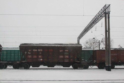 Ukrainian Railways grain wagons at Koziatyn (Козятин)