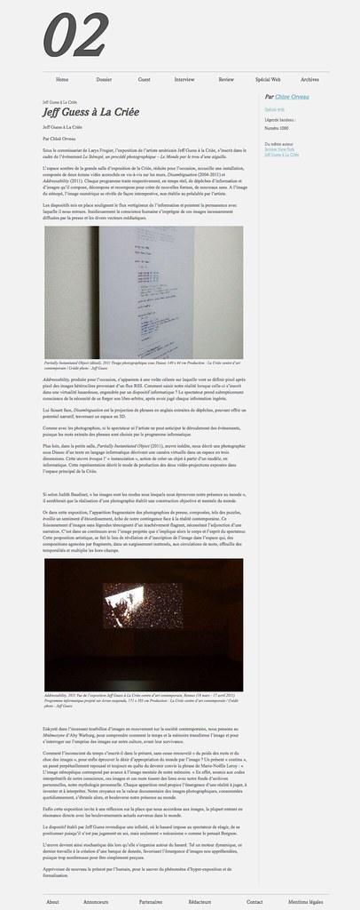 Jeff Guess à La Criée  Zérodeux  Revue d'art contemporain trimestrielle et gratuite