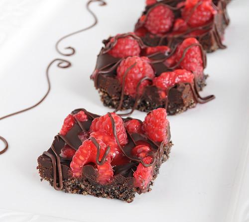 Raspberry Truffle Chocolate Squares