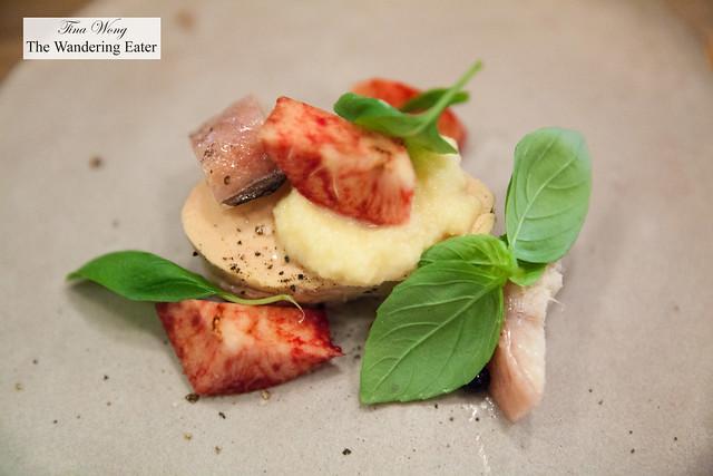 Eel, foie gras, peach