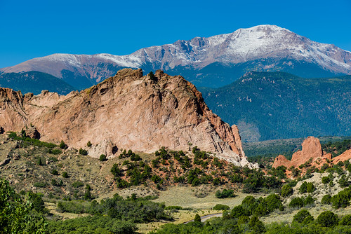 Pike's Peak looming over Garden of the Gods