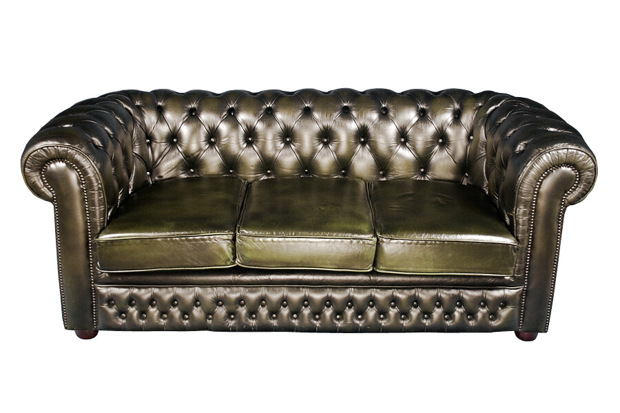 Green leather chesterfield sofa | This traditional buttoned ...