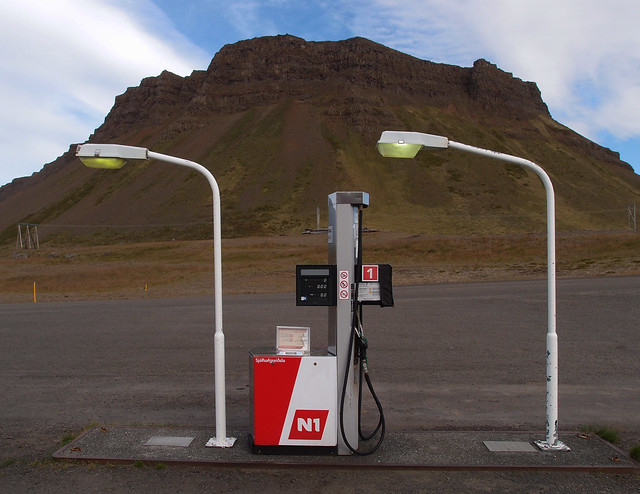 Landscape with a petroleum pump