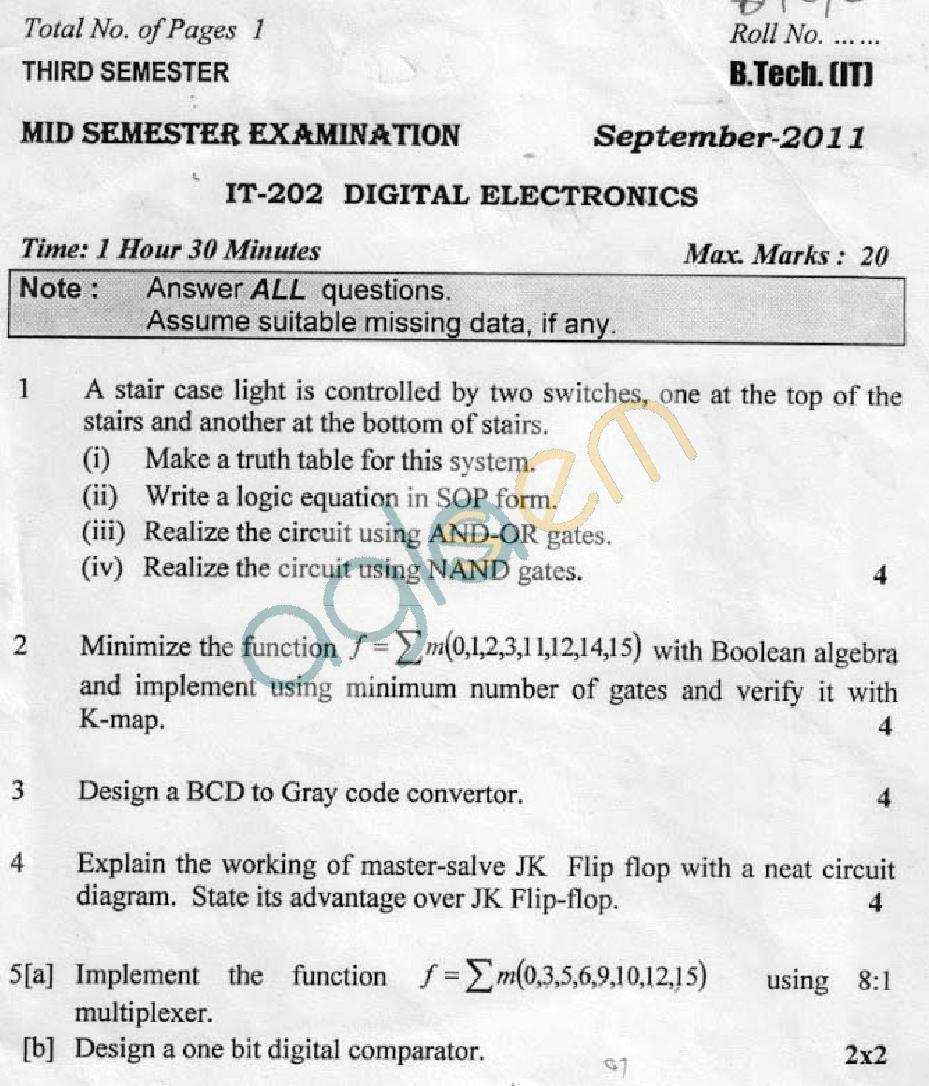 DTU Question Papers 2011 - 3 Semester - Mid Sem - IT-202