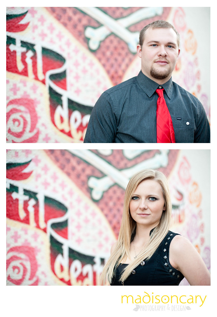 til death do us part skulls mural downtown austin engagement shoot