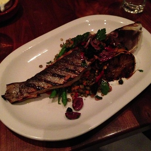 Grilled Sea Bass at Tuck Shop.