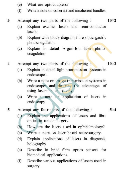 UPTU B.Tech Question Papers - BME-603 - Laser & Fibre Optics In Medicine