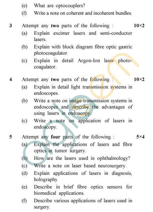 UPTU B.Tech Question Papers -BME-603 - Laser & Fibre Optics In Medicine