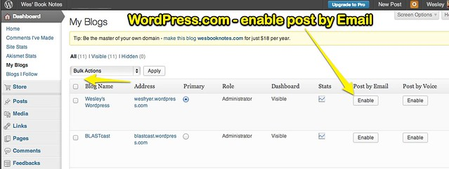 WordPress.com - Enable Post by Email