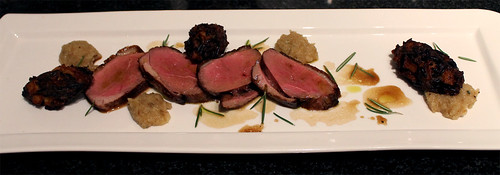 Duck Breast, Spiced Apple Pulp, and Wild Rice Croquettes
