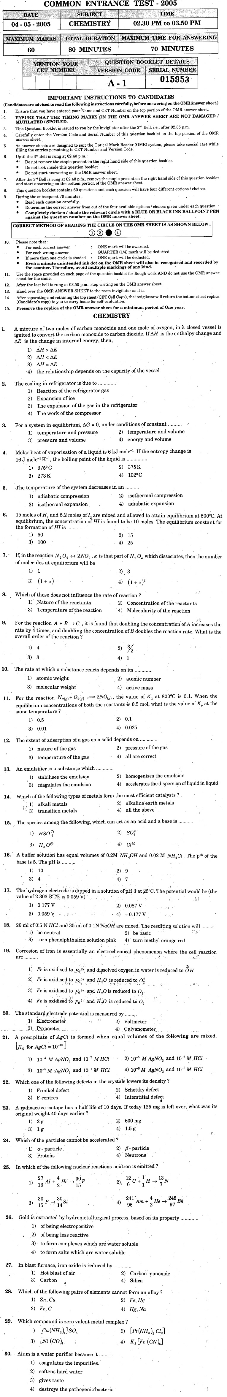KCET 2005 Question Paper - Chemistry