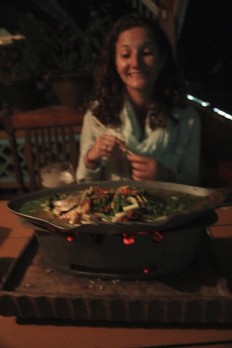 a whole fish at Shanland. Came in a soup above a portable wood fire to keep it extra hot