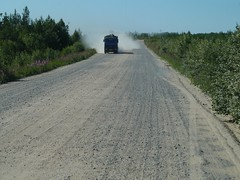 Russia Archangelsk gravel road dusting problems