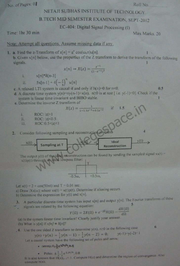 NSIT Question Papers 2012 – 7 Semester - Mid Sem - EC-404