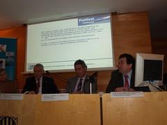 Esq-dreta: Carlos Rico (ADIN), Jordi Ciuraneta (direcció gral Pesca i A. Marítims) i Miquel Guarner (ADIN).