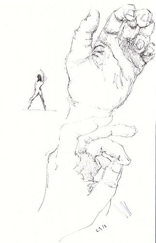 Pen sketches of hand