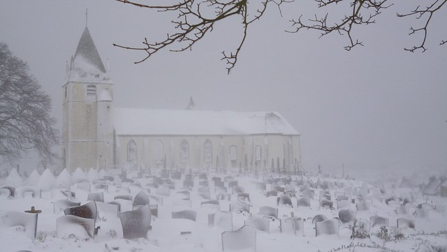 Eglise de Querqueville sous la neige